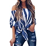 Womens Blouses, SHOBDW Women Sexy Striped Off Shoulder Waist Tie Short Sleeve T Shirts Casual Summer Party Beach Tops (Tag=L/UK=16, Blue)