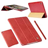 ipad 3 case vintage - Jisoncase Vintage Genuine Leather Smart Cover Case for iPad mini 3 & iPad mini 2 & iPad mini, JS-IM2-01A30-Red