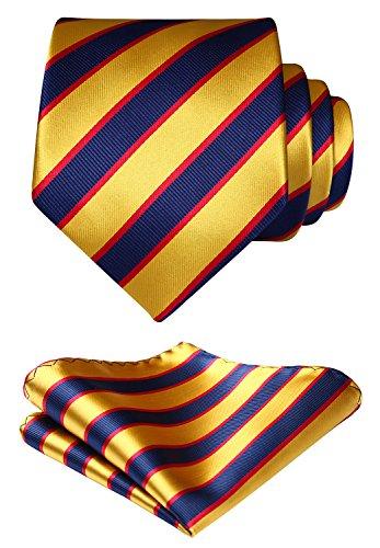(HISDERN Striped Wedding Tie Handkerchief Woven Classic Men's Necktie & Pocket Square Set Navy Blue & Yellow)