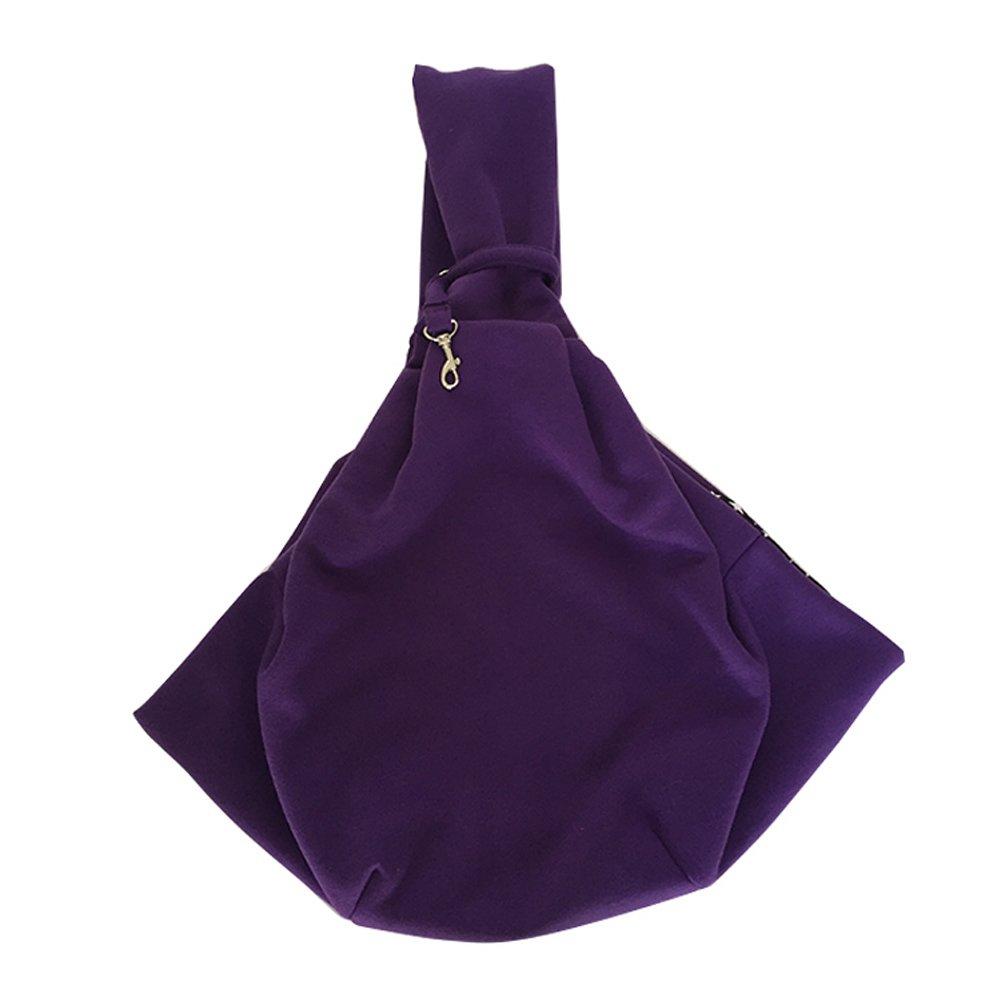 Cotton Sling Pet Dog Cat Carrier Bag 10 Optional Colors (Purple)