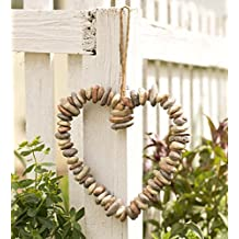 Wind & Weather HD8675 Rock Heart Wreath - Indoor Outdoor Nature Wal,Multi-Color
