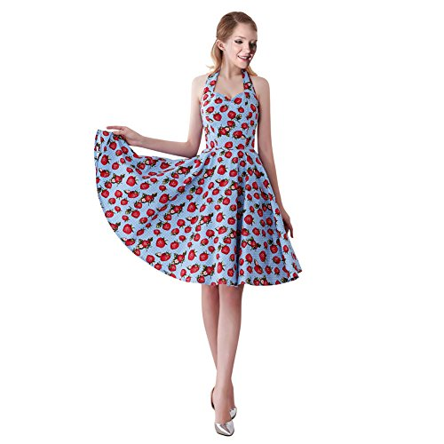 Dotted Halter Dress - FiftiesChic Halter Neck 100% Cotton Polka Dot Floral 50s Vintage Rockabilly Swing Dress (Large, Blue Dotted Strawberries)