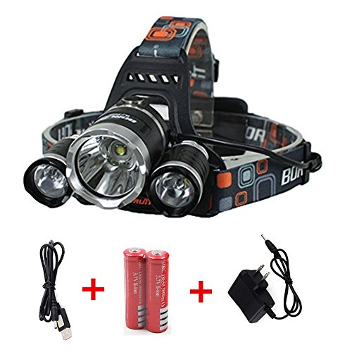 Ankong®5000 Lumen Bright Headlight Headlamp Flashlight Torch 3 CREE XM-L2 T6 LED with Rechargeable Batteries and Wall Charger for Hiking Camping Riding Fishing Hunting