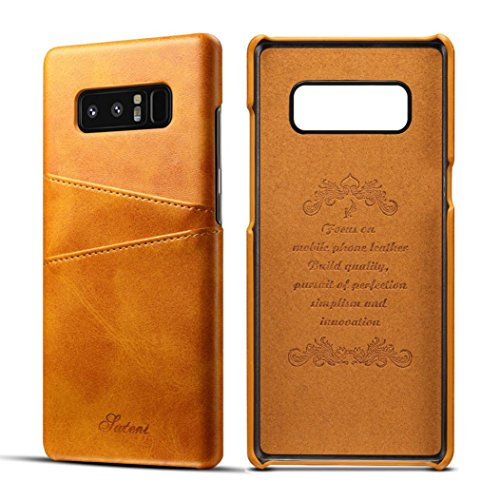 Price comparison product image For Samsung Galaxy Note 8 Case, Iusun Premium Leather Card Slots BackCover Protective Cover For Samsung Galaxy Note 8 (Yellow, Samsung Galaxy Note 8)