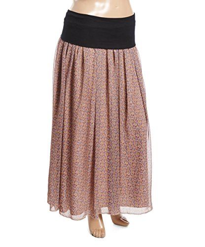 PB COUTURE Plus-Size Women's Lace Wide Band Long Skirt 2X (18/20) Mosaic