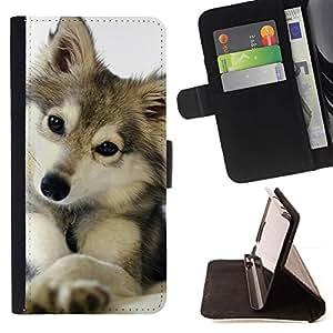 Momo Phone Case / Flip Funda de Cuero Case Cover - Snow Wolf Winter Animaux Canine - Samsung ALPHA G850