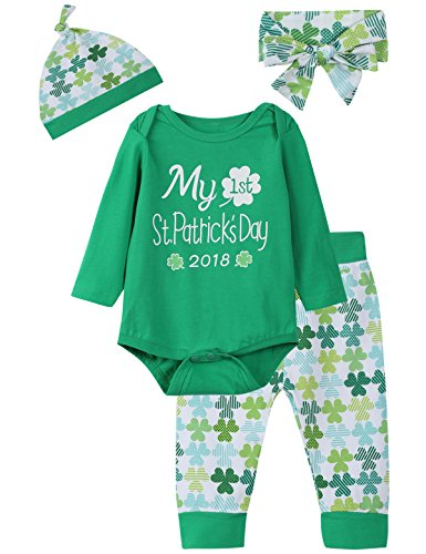 St Patricks Day Baby Shower - iCrazy Baby Boys Girls Outfit Set My First ST Patrick's Day Long Sleeve Romper (3-6 Months)