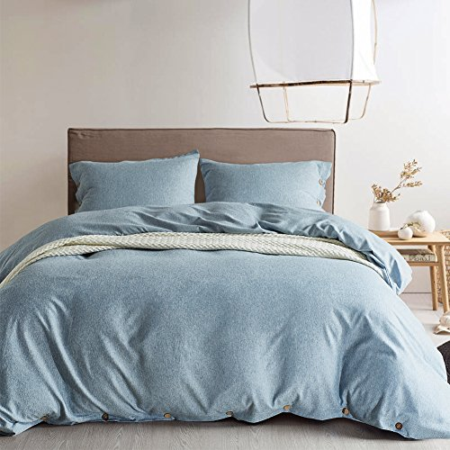 t 100% Luxury 150g Double Brushed Microfiber with Coconut Buttons Closure Solid Color Heavy and Super Soft Warm More Durable (King, Pale Blue) ()