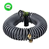 "Best Coiled Garden Hose 50 Fts - YeStar 50FT Garden Coil Hose, 3/4"" Solid Brass Review"