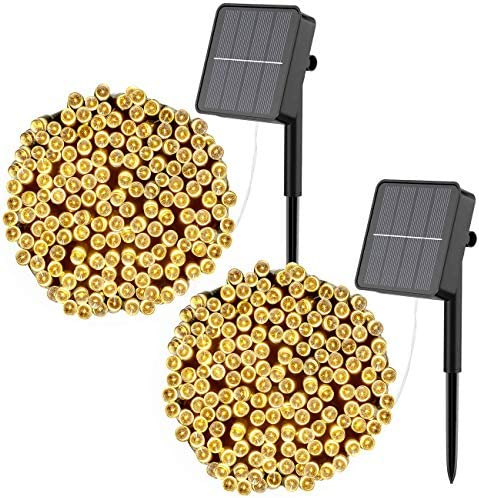litogo [2 Pack] Solar String Lights, 12m 120 LED Solar Fairy Garden Lights Outdoor Waterproof 8 Modes Decorative Fairy Lights for Tree, Fence, Patio, Garden, Yard, Home, Party, Wedding (Warm White)