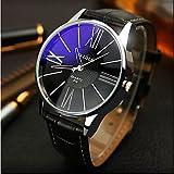 Sports Watches Relojes de Hombre Yazole Relojes Relojes de los Hombres sinfonía Azul Espejo Idea de Cuarzo Resistente al Agua Regalo Reloj del Negocio Relojes de Mujer (Color : Negro)
