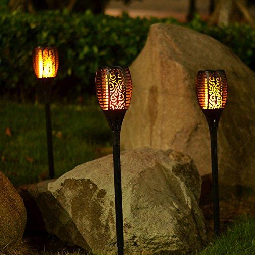 Solar Torch Light with Flickering Flame,Fire Effect Lantern,Dancing Flame,Solar Garden Light, Dust to Dawn,Outdoor Waterproof Garden Decoration, Solar Powered Stick Light ZKEE(Set of 4) by zkee (Image #3)