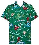 Alvish Hawaiian Shirt 41 Mens Christmas Santa Claus Party Aloha Holiday Green L