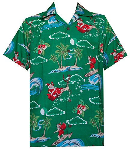 Hawaiian Shirt 41 Mens Christmas Santa Claus Party Aloha Holiday Green XL ()