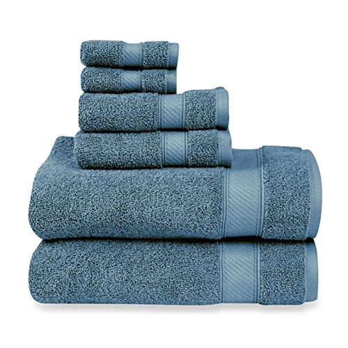 Wamsutta 6-Piece Hygro Duet Bath Towel Set Includes Washcloths,Hand Towels Bath Towels (Teal)