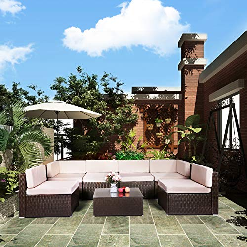 U-MAX 7 Pieces Patio PE Rattan Sofa Set Outdoor Sectional Furniture Wicker Chair Conversation Set with Cushions and Tea Table Brown