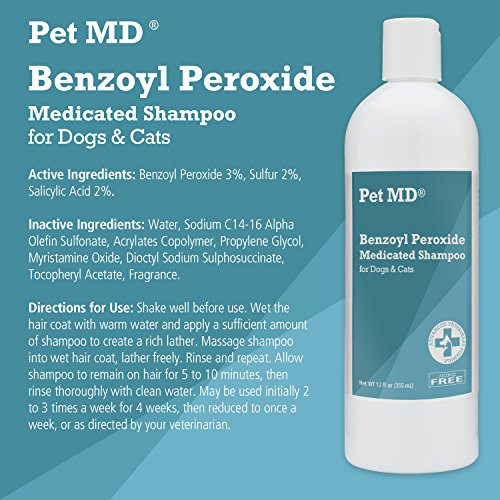 Product image of Pet MD Benzoyl Peroxide Medicated Shampoo for Dogs and Cats, Effective for Seborhhea, Dandruff, Mange, Itch Relief, Acne and Folliculitis, Citrus Scent, 12 oz.