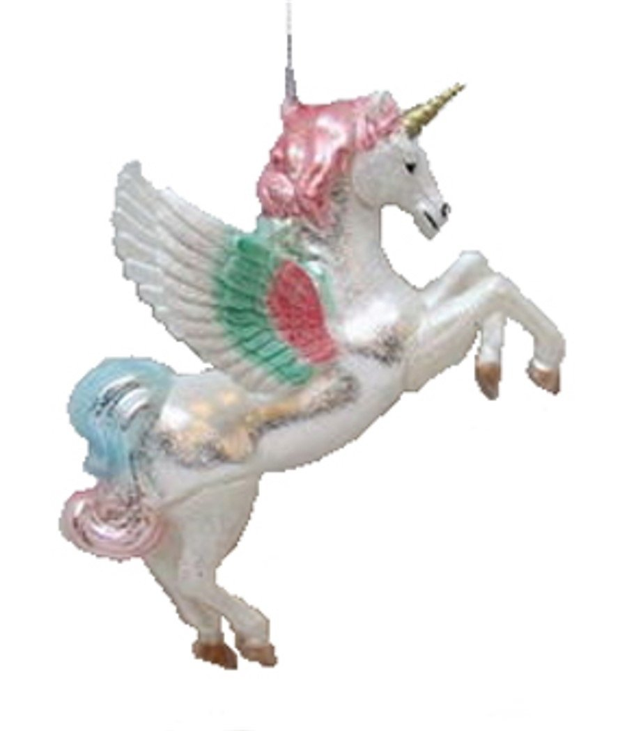 amazoncom december diamonds blown glass with plastic overlay unicorn with wings ornament home kitchen - Unicorn Christmas Decorations