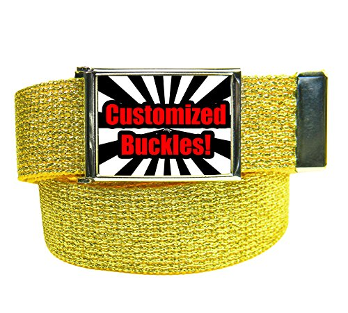 Custom Printed Men's Flip Top Bottle Opener Buckle with Canvas Web Belt Small Glitter Gold (Printed Canvas Belt)