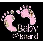 Pink Baby on Board Camo Decal Sticker