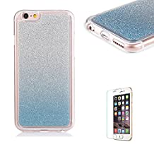 iPhone 4/4S Case [with Free Screen Protector], Funyye Luxury Bling Glitter Shiny Sparkly Crystal Clear Ultra Slim Thin light Blue Gradual Colour Changing Protective TPU Soft Silicone Rubber Gel Bumper Case Cover for Apple iPhone 4/4S