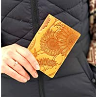Passport Cover Sunflower Print Real Leather Handmade Full Grain Leather Passport Holder Handmade Travel Wallet ID Cover Yellow Case Gift Turtle Barefoot