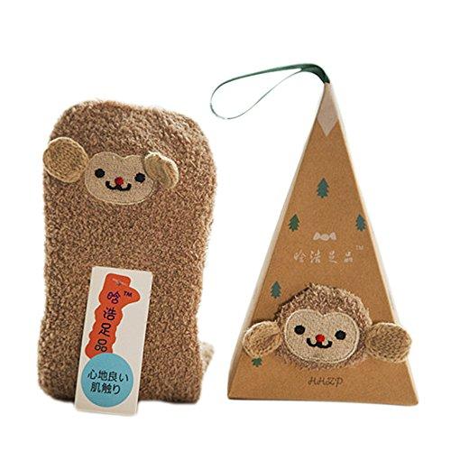 Monkey Pattern (Kangkang@ 3D Design Xmas Santa Thick Warm Soft Coral Fleece Slipper Socks Adults Kids Women Christmas Socks Cartoon with Gift Box (Adults, Monkey Pattern))