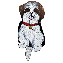 Swinging-Tail Pendulum Dog Clock - Black and White Shih Tzu