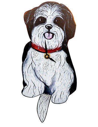 Swinging-Tail Pendulum Dog Clock – Black and White Shih Tzu
