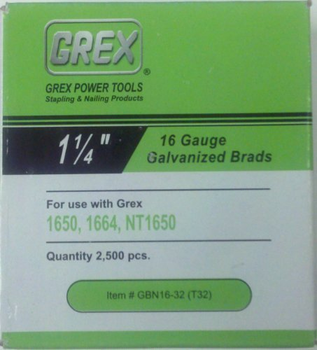 Grex Power Tools GBN16-32 (T32) 16-Gauge 1-1/4-Inch Length Galvanized Brads