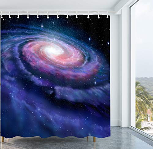 Get Orange Spiral Galaxy Shower Curtain Pinkish Blue Rose Galaxy Illustration of Milky Way Magical Cosmos Universe Print Décor Shower Curtain Set 72X72 Inches with Hooks (Spiral Shower Curtain)