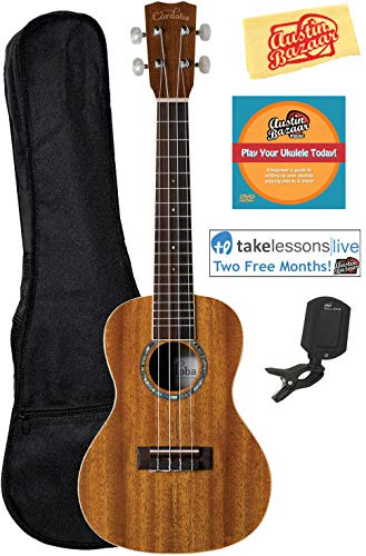 Cordoba 15CM Concert Ukulele Bundle with Gig Bag, Tuner, Austin Bazaar Instructional DVD, and Polishing Cloth