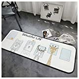 AXIANQIMat Bathroom Barrier Pad Square White Animal Print Kitchen Mat Long Strip Bedroom Mat Bed Side 170cm (Color : White, Size : 50170cm)