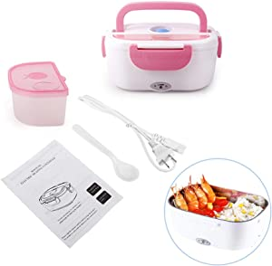 Electric Lunch Box Food Heater, 110V 1.5L for Work Office School, 304 Stainless Steel Portable Microwave Food Warmer Lunch Box, Spoon Included