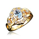 BLOOMCHARM 'My Soul' 18K Gold Plated Cubic Zirconia Engagement Wedding Ring, Gifts for Women Girls (Clear White, 7)