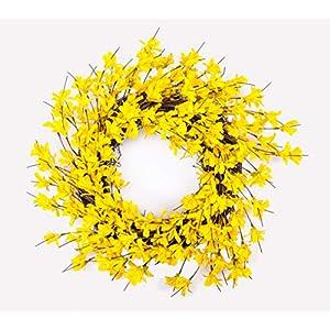 Huashen 24 Inch Yellow Forsythia Door Wreath for Rustic Spring Summer Farmhouse Front Door Decor Wreath (Yellow)