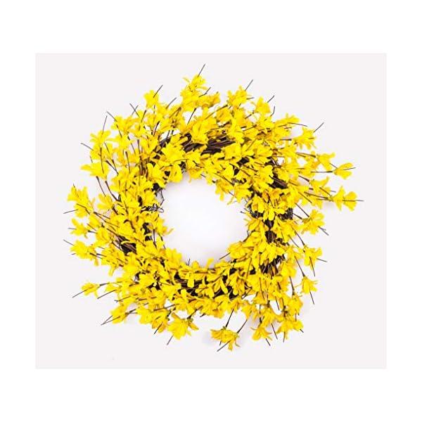 Huashen 24 Inch Yellow Forsythia Door Wreath for Rustic Summer Farmhouse Front Door Decor Spring&Summer Wreath