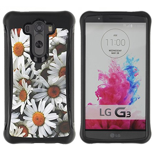 All-Round Hybrid Rubber Case Hard Cover Protective Accessory Compatible with LG G3 2014 Smart Phone - daisies flowers sun field vintage