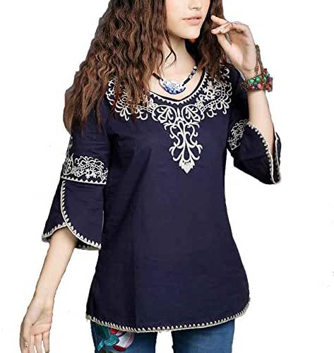 Ashir Aley New 2015 Floral Embroidered Butterfly Sleeve Wrap Peasant Blouse