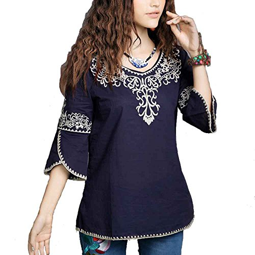 Ashir Aley New 2015 Floral Embroidered Butterfly Sleeve Wrap Peasant Blouse , Large, Style3 Navy by Ashir Aley