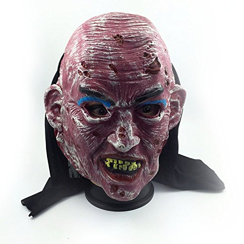 Siavicky Zombie Ghost Mask Scary Emulsion Skin with Hair Halloween latex horror bloody headgear Latex Creepy Scary (Deformed Zombie Mask)