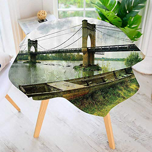 Round Tablecloth Polyester- Bridge and Old Boat Riverside
