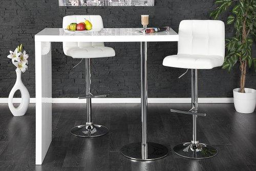 Exklusiver Bartisch MAGNUS hochglanz weiss chrom Tisch Bar Küchentheke