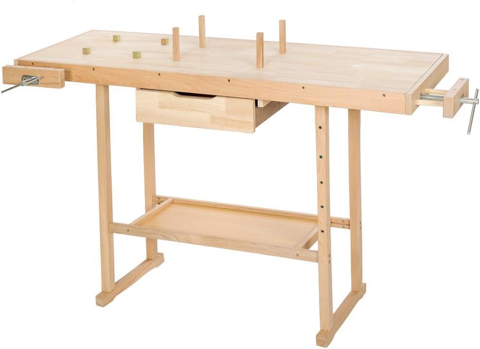 Tectake Holz Werkbank Mit Schraubstock Diverse Grossen Xl Amazon De Baumarkt