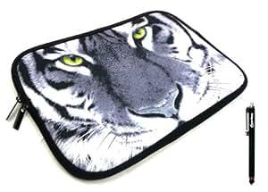 Emartbuy ® Stylus Negro + Blanco Y Negro Del Tigre (10-11 Pulgadas Ereader / Tablet / Netbook) Resistente Al Agua Estuche De Neopreno Suave Zip / Cubierta Adecuado Para Ipad 2 De Apple Y Ipad 3