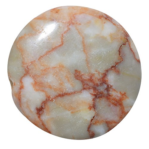 (Orange Marble Pattern Jasper Round Focal Pendant Beads 35mm (2) )