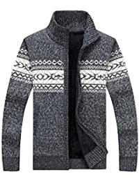 Men's Casual Slim Winter Thick Full Zip Up Cardigan Sweaters With Pockets