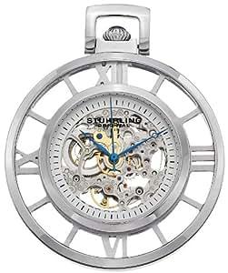 """Stuhrling Original 713.01 """"Montres de Poche Ancestor"""" Stainless Steel Skeleton Pocket Watch"""