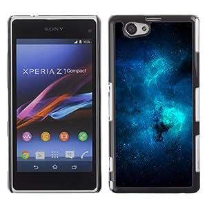 Azul Galaxy - Metal de aluminio y de plástico duro Caja del teléfono - Negro - Sony Xperia Z1 Compact / Z1 Mini (Not Z1)