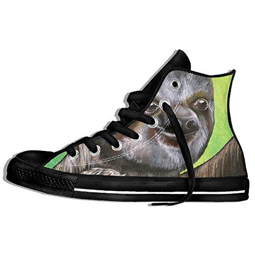 Classiche Sneakers Alte Scarpe Di Tela Antiscivolo Simpatico Bradipo Casual Da Passeggio Per Uomo Donna Nero